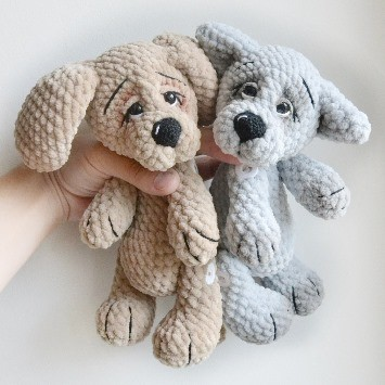 Собачка и волк амигуруми