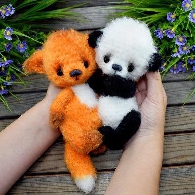 Лиса и панда крючком амигуруми