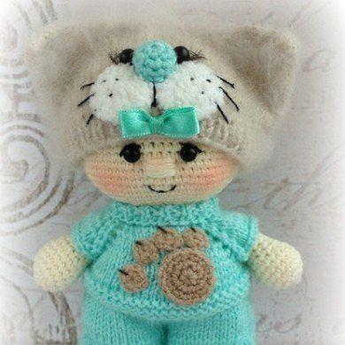 Кукла пупс в костюме котика