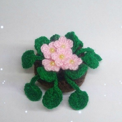 Вязаные цветы фиалки крючком