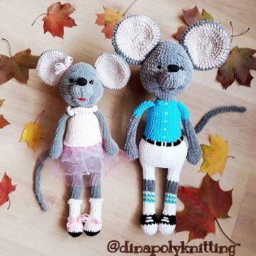 Плюшевые мышки амигуруми