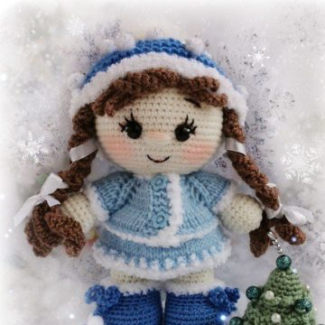 Вязаная кукла Снегурочка