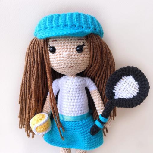 Кукла теннисистка Эва крючком