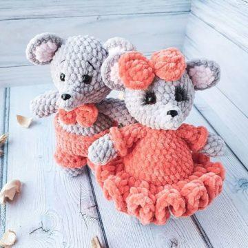 Мышки амигуруми мальчик и девочка