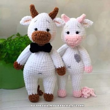 Бычок и корова амигуруми