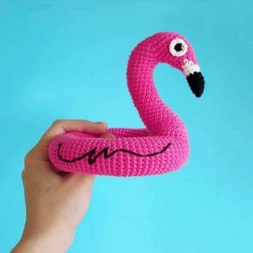 Плавательный круг фламинго крючком