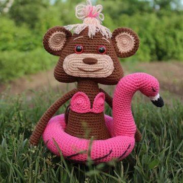 Вязаная обезьянка Яна крючком
