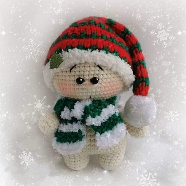 Рождественский гномик амигуруми